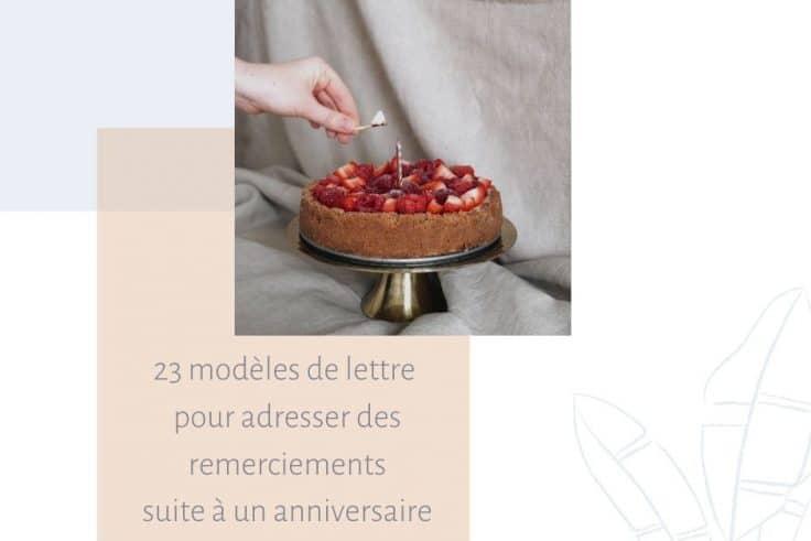 modèles lettres de remerciement anniversaire